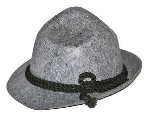 German Alpine Hat Bavarian Oktoberfest Lederhosen Costume Bayern Gray Felt