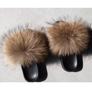 b907502dd68c INS Women Fluffy Real Fox Raccoon Fur Slippers Raccoon Sandal Shoes ...