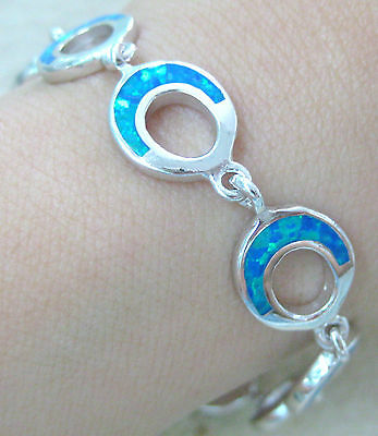 "REAL 925 STERLING SILVER ""cr.OPAL BLUE"" Oval link Bracelet 19.5cm - GIRL WOMEN"
