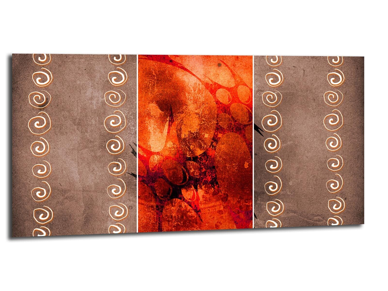 Alu-Dibond Bild ALU100501556 KUNST ZEICHEN Orange 100 x 50 cm Wandbild ABSTRAKT