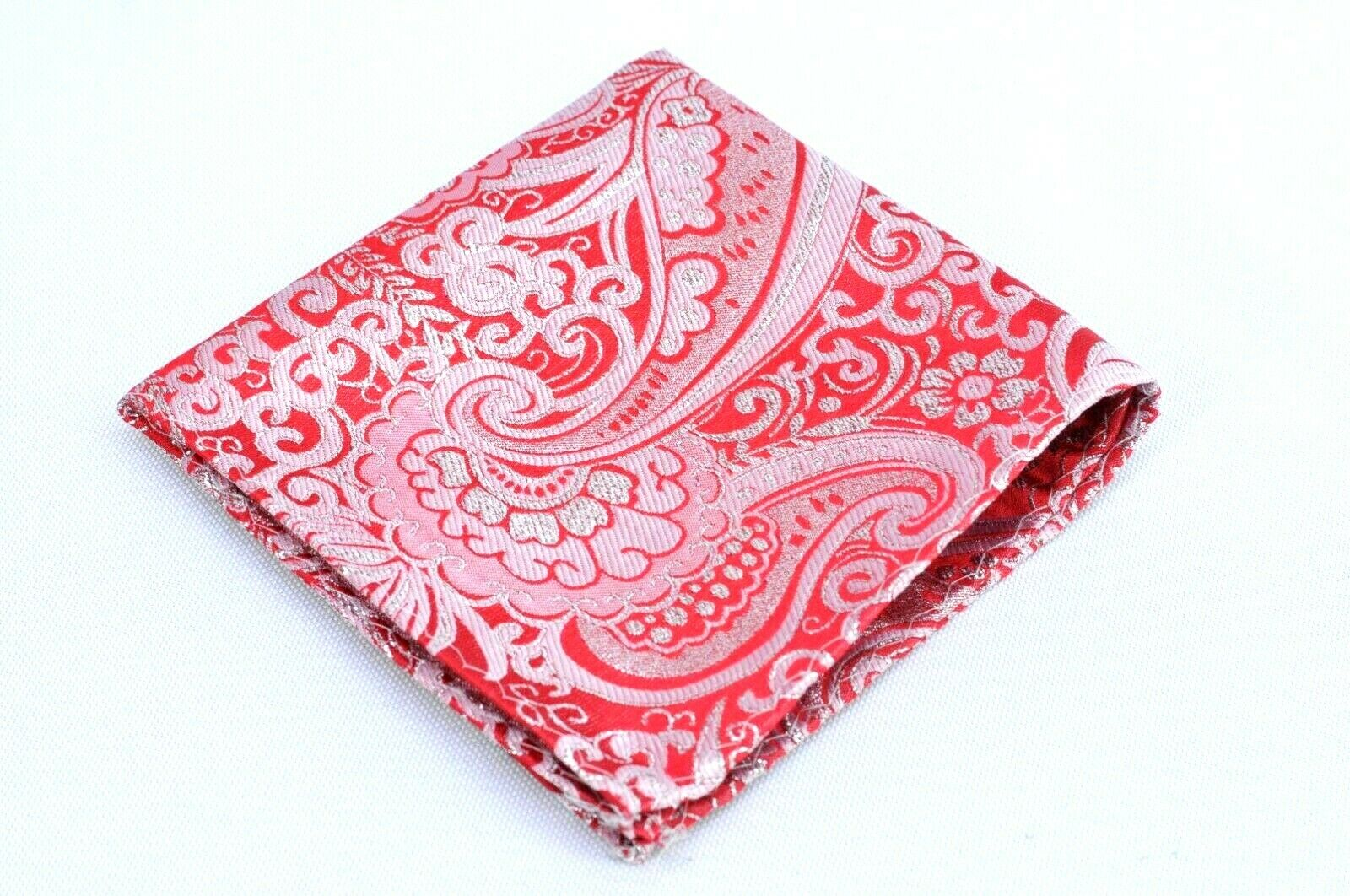 Lord R Colton Masterworks Ruby Silver Dust Paisley Silk Pocket Square - New