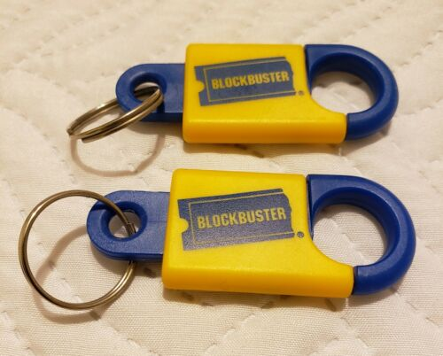 LOT OF 2 Blockbuster Video Vintage Keychain Plastic Collectible BBV