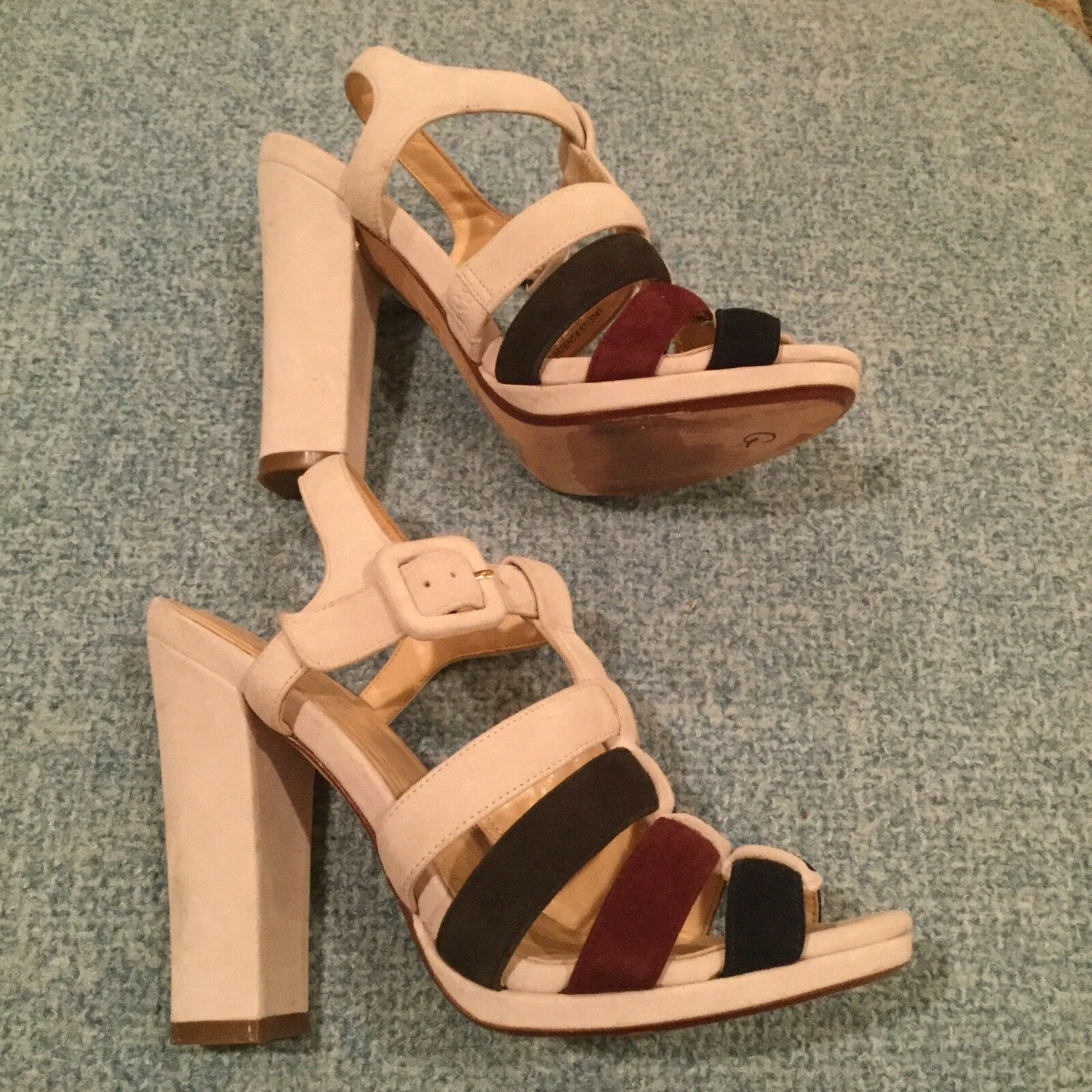 Cole Haan 6 Suede Strappy Platform Sandals High Block Heel White Navy Burgundy