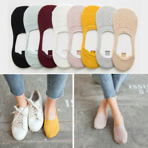 5-Pairs-Women-039-s-Invisible-No-Show-Nonslip-Loafer-Boat-Ankle-Low-Cut-Cotton-Socks