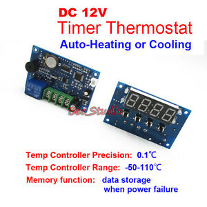 Dc 12v timer onoff temperature controller relay switch thermostat image is loading dc 12v timer on off temperature controller relay sciox Images