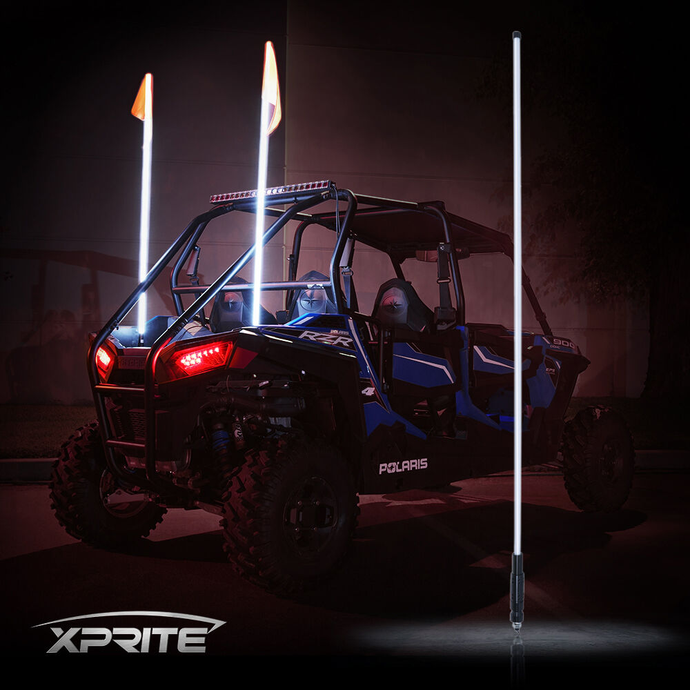 xprite white 5ft led whip light amp flag fits rzr atv utv