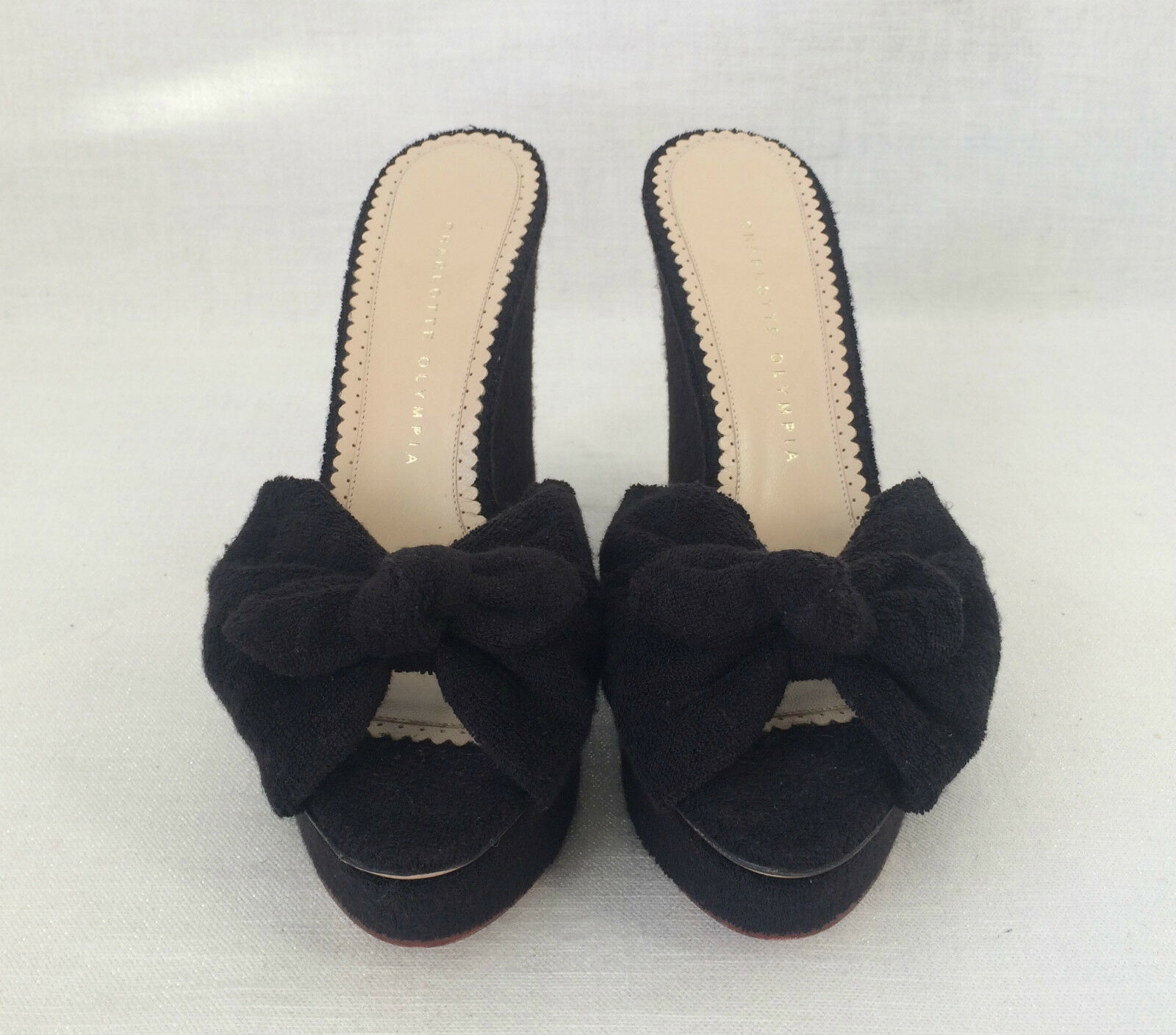 CHARLOTTE OLYMPIA noir WEDGES WEDGES WEDGES SEXY SANDALS JAYNE KNOT TERRY. Sz 40 5da822