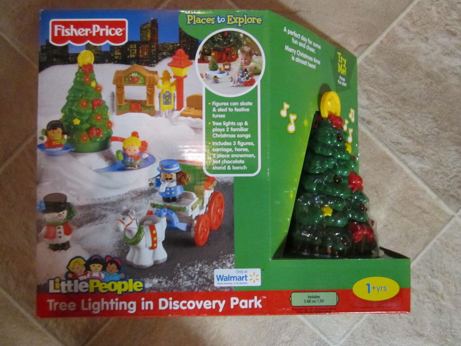 Fisher Price liten människor Christmas Tree ljusing Park New låda salta glassdammän