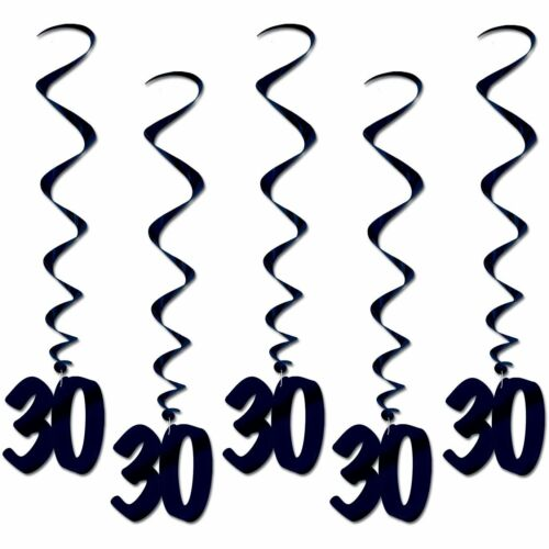 Number 30 Whirls black BIRTHDAY OR ANNIVERSARY DECORATION 5pc pkg