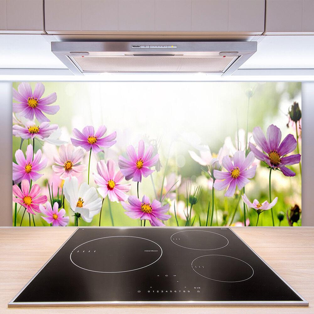 crédence de cuisine en en en verre panneau paroi 100x50 floral