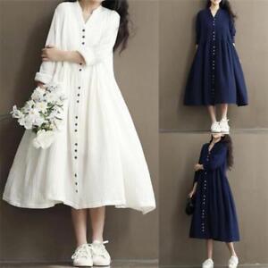 9408747f8 Details about Women's Cotton Linen Loose Casual Tunic Button Down Shirt  Long Maxi A-Line Dress