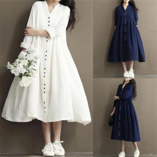 Women/'s Cotton Linen Loose Casual Tunic Button Down Shirt Long Maxi A-Line Dress