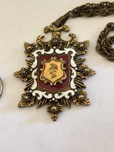Vintage Heraldic Arms Pendant Layered  Enameled Ro