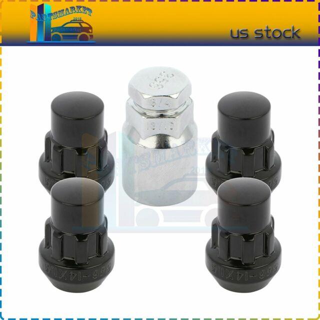 4 Wheel Locks + 1 Key 14x1.5 Black Fits 2007 2008 2009