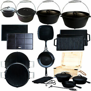 dutch oven gusseisen set topf pfanne platte grillplatte camping kochtopfset ebay. Black Bedroom Furniture Sets. Home Design Ideas