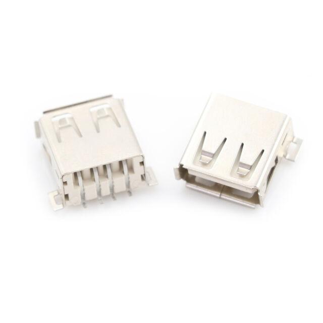 10pcs USB Type A 180 Degrees Socket Female Solder Plug Adapter Connector Lf