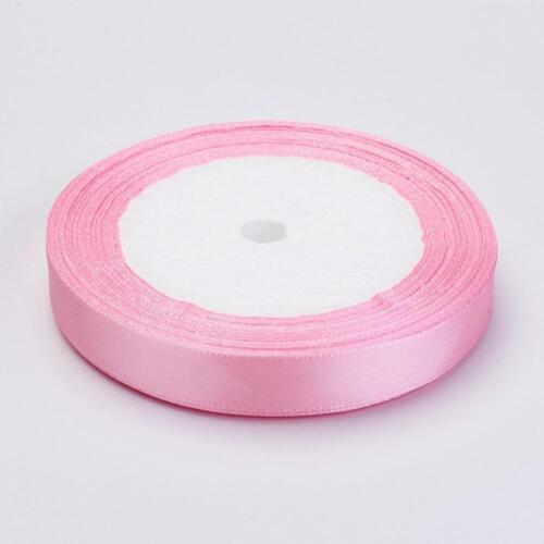 BOBINE 22m RUBAN SATIN ROSE 7mm perles scrap bijoux