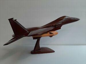 "Large 18"" F14 Tomcat Fighter Jet Mahogany Wood Desktop Airplane Model Shelf B4"