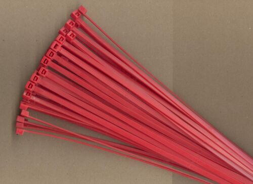 "100 14"" Inch Long 50# Pound RED Nylon Cable Zip Ties Ty Wraps MADE IN USA"