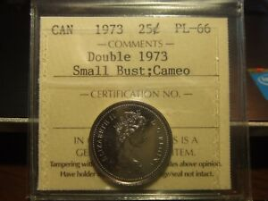 CANADA-25-CENTS-1973-SMAL-BUST-DOUBLE-1973-ICCS-PL-66