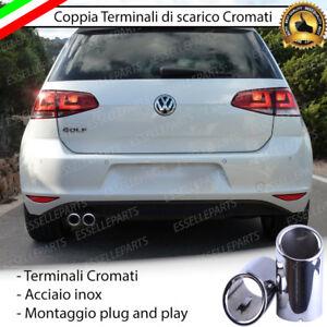 COPPIA-TERMINALE-SCARICO-CROMATO-LUCIDO-ACCAIO-INOX-VW-GOLF-7-VII-SCARICO-DOPPIO
