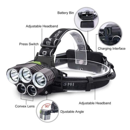 90000LM 5X T6 LED Headlamp USB Rechargeable Head light Flashlight Torch Lamp @