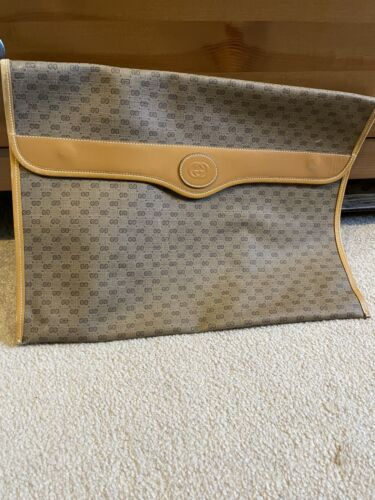 Gucci Signature GG Logo Brown Partial Leather Port