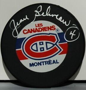 Jean Beliveau signed NHL Montreal Canadians hockey puck 17X Stanley Cup HOF