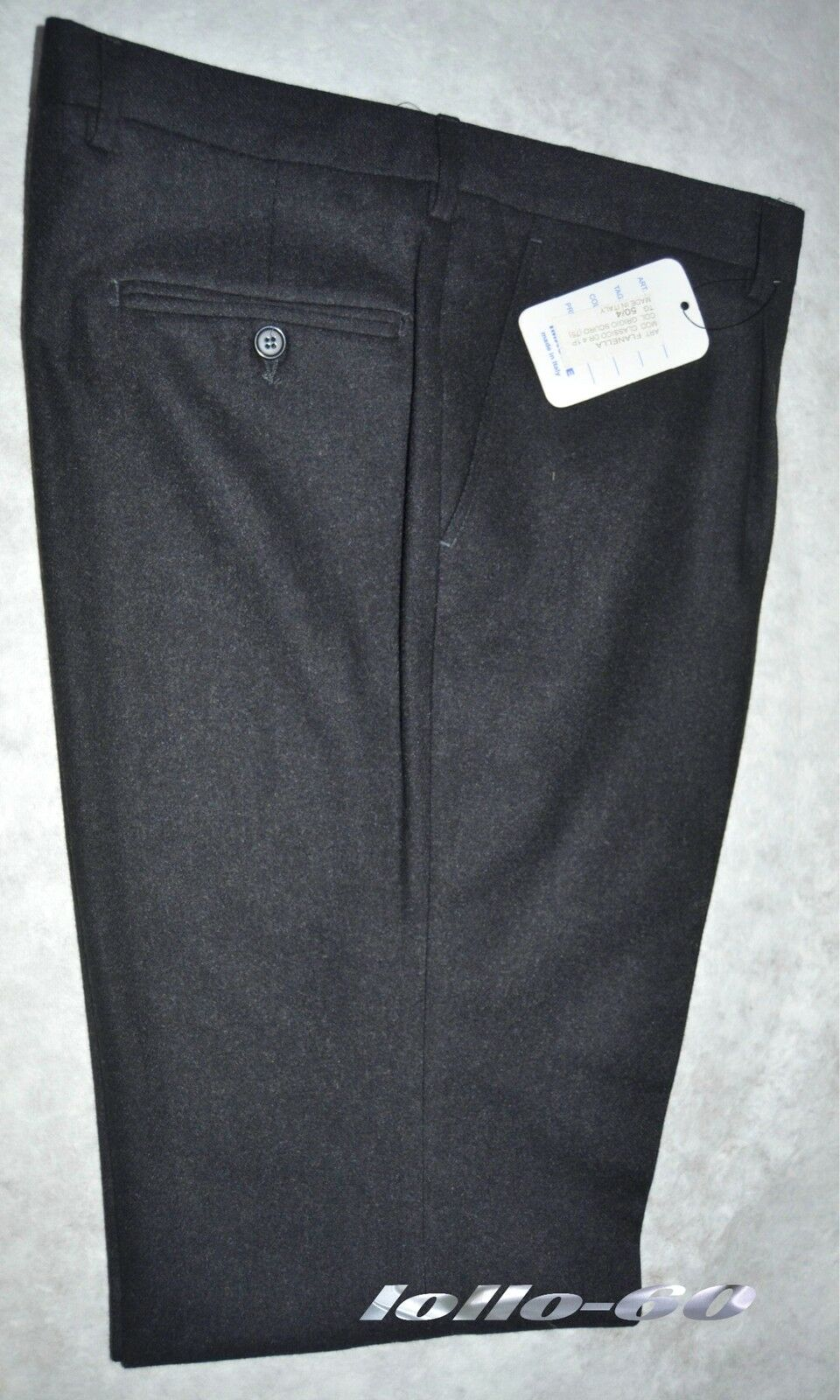 Men's trousers classic size 46 flannel wool blend dark grey MADE IN ITALY