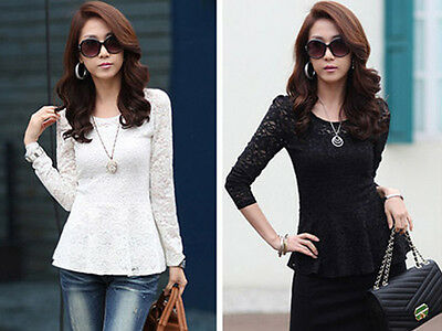 Women's Stylish Lace T-shirt Long Sleeve Shirt Peplum Crew Neck Blouse Tops SMQ