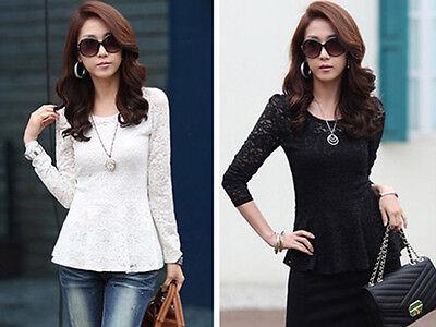 Women's Stylish Lace T-shirt Long Sleeve Shirt Peplum Crew Neck Blouse Tops SMQ