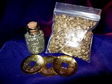FSH060 Feng Shui I-Ching Coins + Gold Nuggets + Pyrite Bottle Wealth Pot Kit