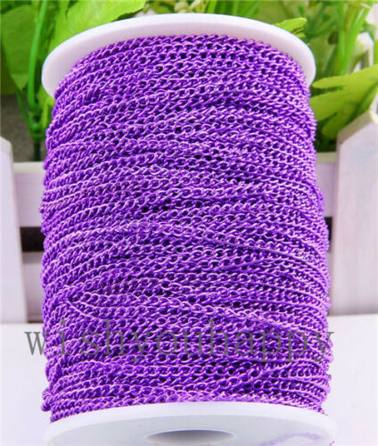 5//10M Colourful Iron Cable Open Link Chain For Necklace Bracelet Jewelry Making