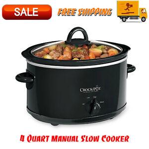 Crock-Pot-4-Quart-Manual-Slow-Cooker-Black-Dishwasher-Safe-Stoneware-and-Lid