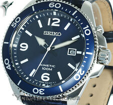 New SEIKO KINETIC BLUE FACE DIVERS STYLE With LEATHER BUCKLE STRAP SKA745P2