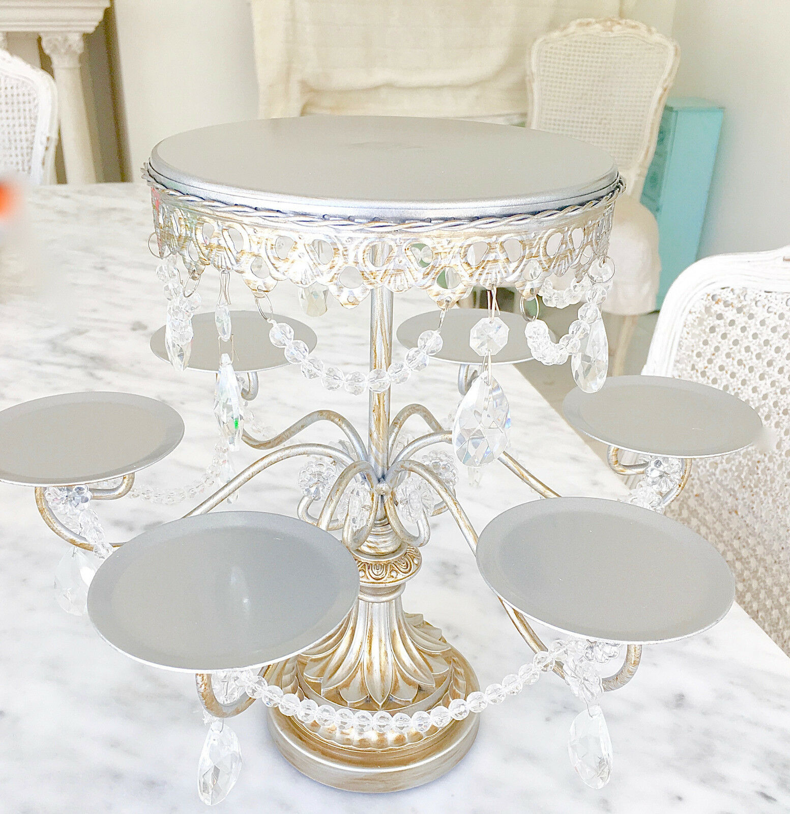 Shabby Chic Cake Stands With Crystals