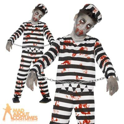 Boys Zombie Convict Costume Halloween Kids Prisoner Child Fancy Dress Outfit