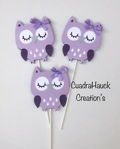 Owl Centerpieces Stick Owl Baby Shower Owl Theme Purple And