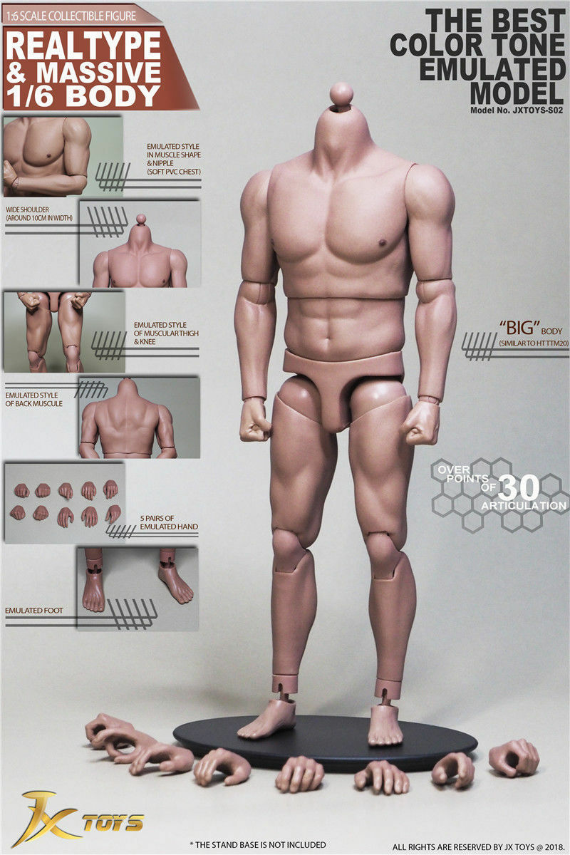 1 6 Scale JXtoys JX-02 Asia Strong Muscle Male Body Model Toy Collection