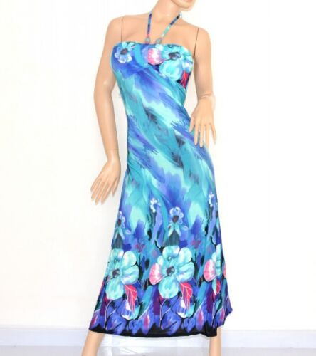 Vestito donna maxi abito lungo fantasia floreale elegante da sera long dress 95D