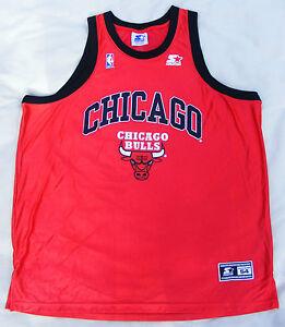 Chicago Bulls Starter Shirt Taille Xxl 54 Vintage 90er Nba Original Size Maillot-afficher Le Titre D'origine Petit Profit