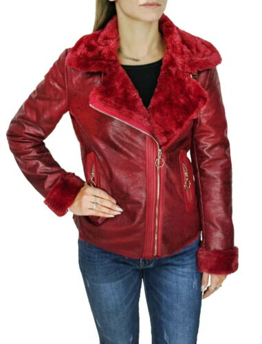Pelliccia cappotto donna invernale rosso bordò ecopelle giacca giubbotto chiodo