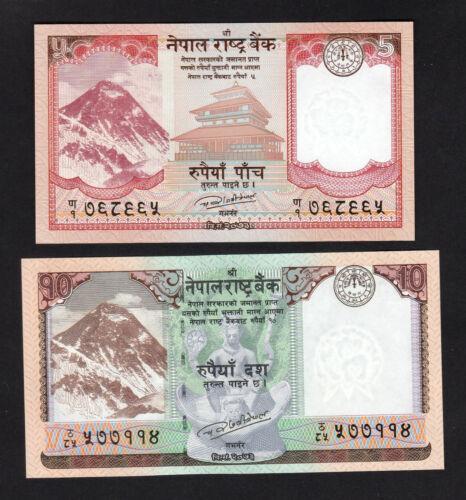 New 2pcs UNC Nepal 5 10 Rupees 2017