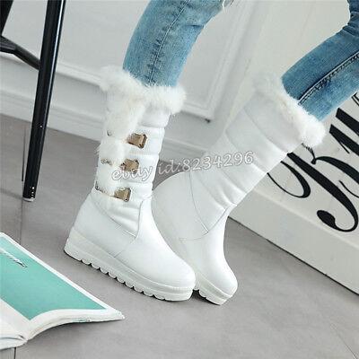 Schick Canvas Schuhe Damen Wadenhohe Stiefel Flache Sohle