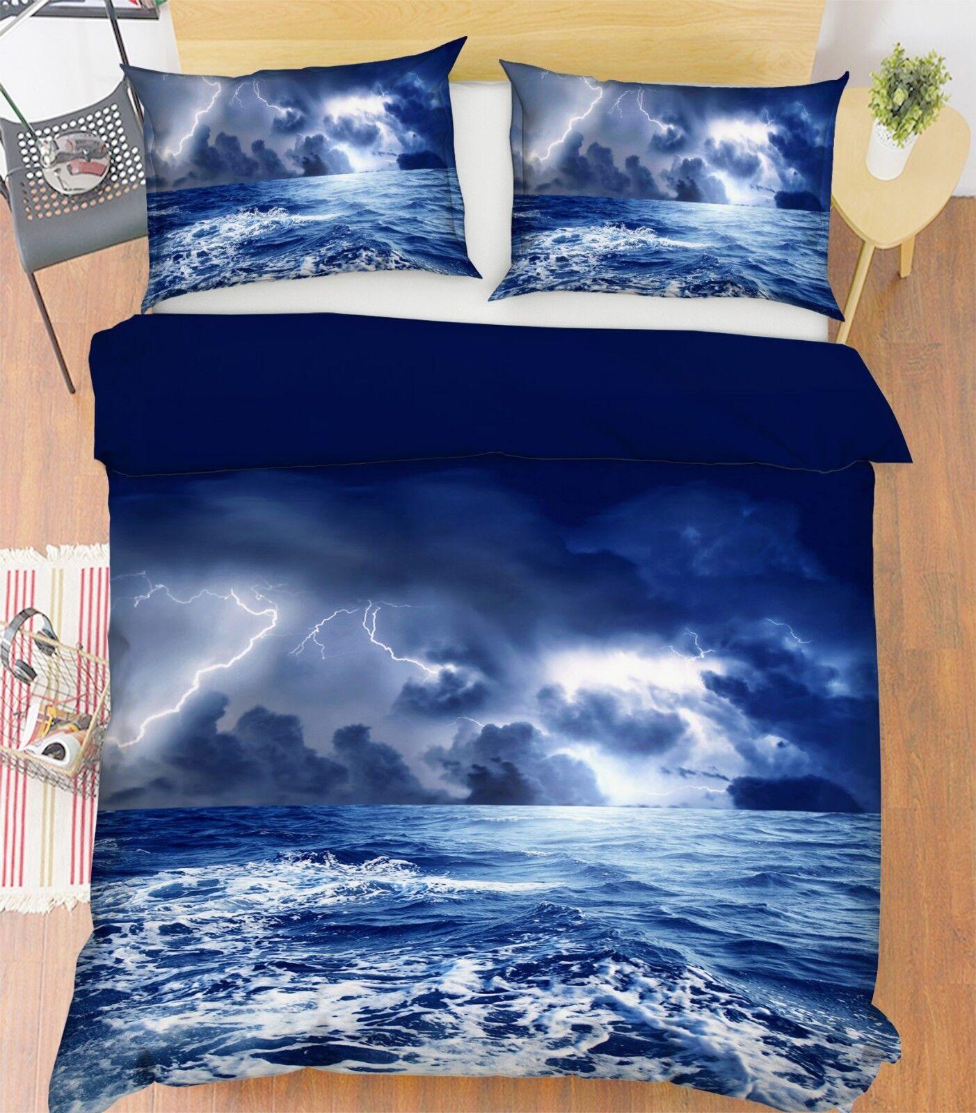 3D Ocean Lightning 015 Bett Pillowcases Quilt Duvet Startseite Set Single König Größe UK
