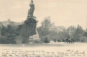 NEW-YORK-CITY-Central-Park-Webster-Statue-Rotograph-Postcard-udb-1906