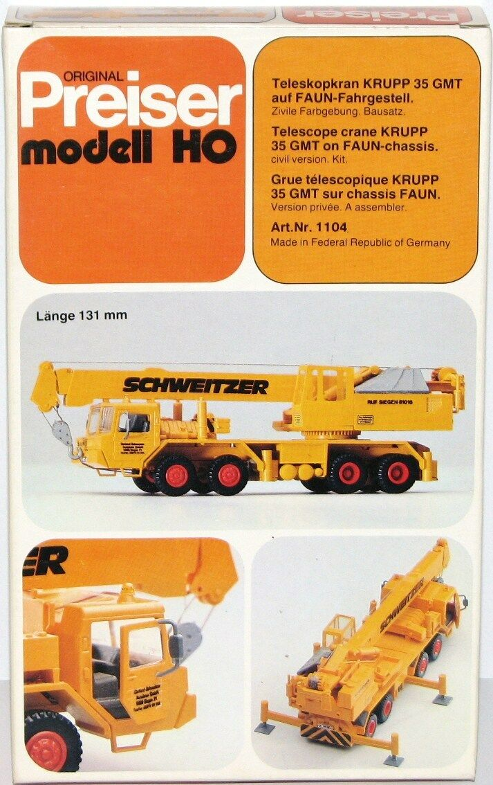 Preiser H0 1104 Grúa Telescópica Krupp 35 Gmt Auf Faun-Fahrgestell - Nuevo +