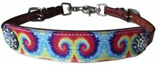 Showman Horse Size Tie Dye Rainbow Leather Wither Strap for Saddle Rhinestones