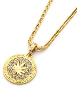 5adae4df7aaea Details about Mens Medallion Marijuana Gold Clear 24