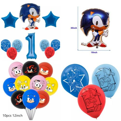 Sonic the Hedgehog 20pcs foil//latex Party Balloons set New.